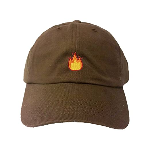 eb9ab1d631a Amazon.com  Adjustable Brown Adult Fire Emoji Embroidered Dad Hat ...