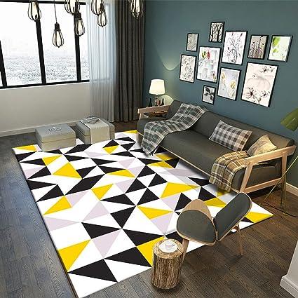 Amazon.com: Black White Yellow Carpet Room Area Rug Floor ...