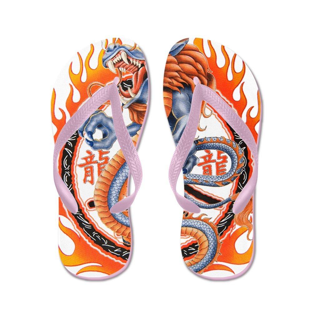 Royal Lion Men's Dragon in Ring of Flames Rubber Flip Flops Sandals