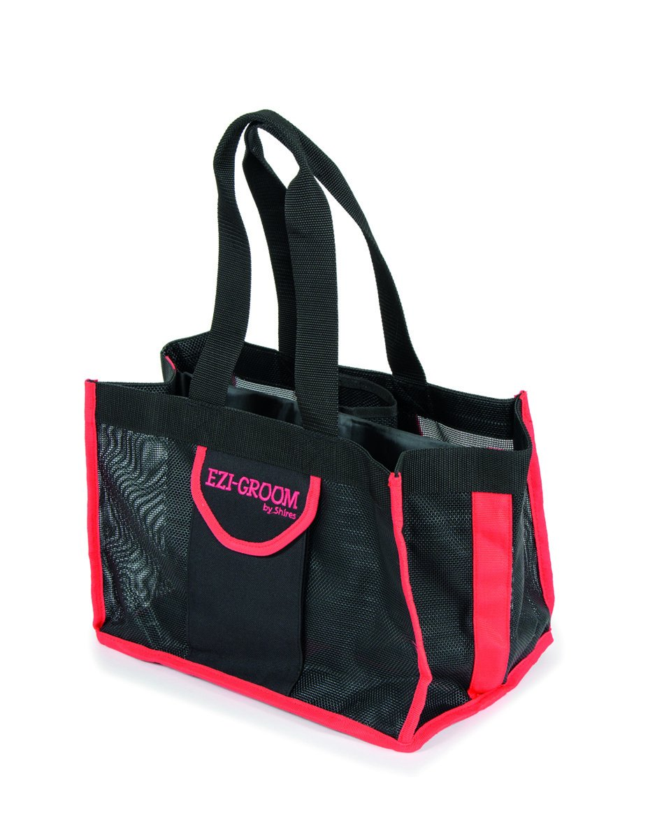 Shires, Ezi-Groom Grooming Kit Bag-Black/Pink-One Size