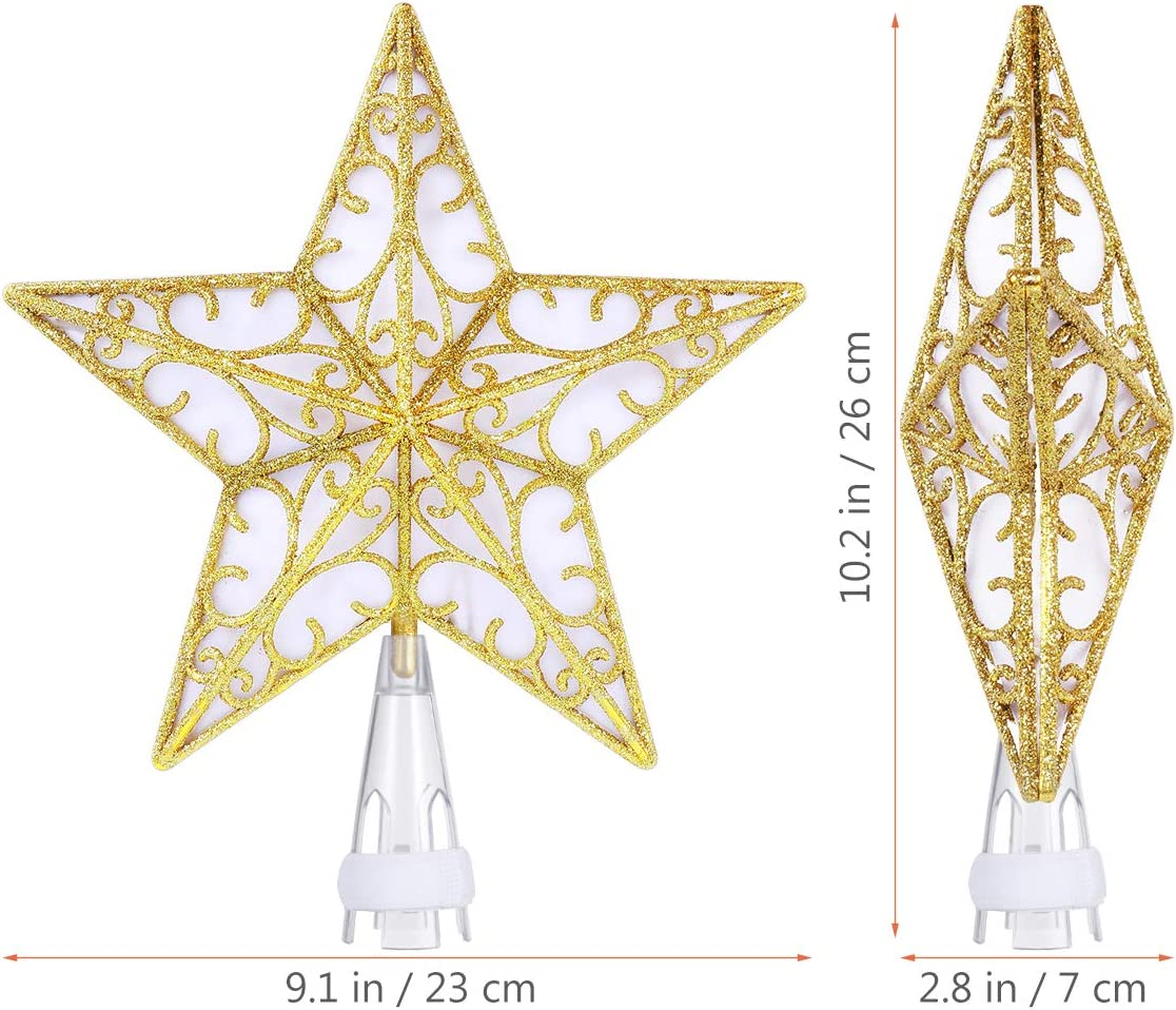 Lighted Star Tree Topper, Christmas Tree Toppers Gold Glittered Vintage for Indoor Christmas Ornaments