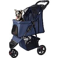 Pet Stroller 3 Wheels Foldable Carrier Strolling Cart for Cat Dog - LIVINGbasics