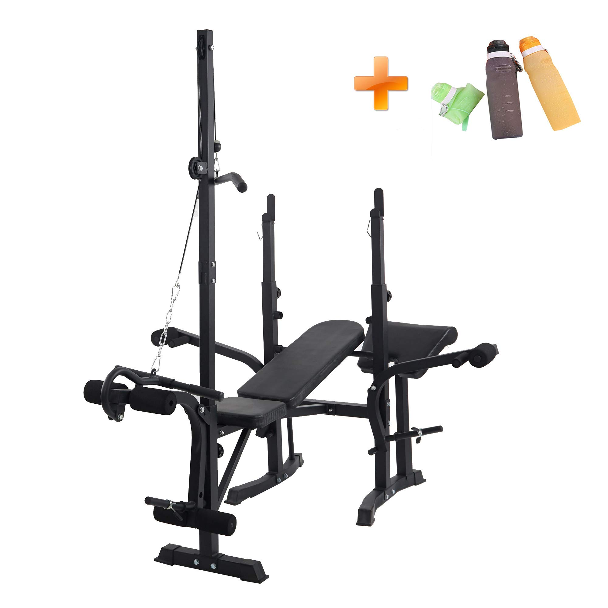 Lucky Tree Adjustable Flat Weight Bench Set with Squat Rack