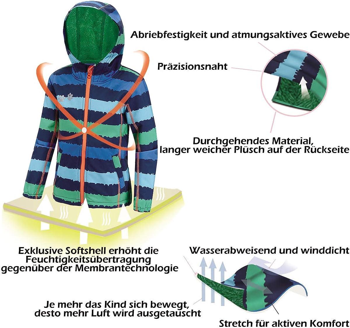 umkaumka Softshell Jacke f/ür Kinder Fleece gef/üttert mit Kapuze 1-7 Jahre Softshelljacke Jungen M/ädchen /Übergangsjacke mit Reflektoren
