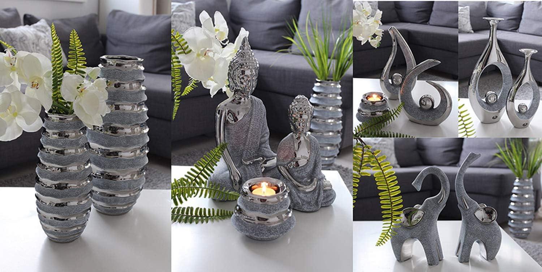 Vaso Decorativo in Ceramica Grigio Argento con Sfera Gilde Stona Altezza 41 cm