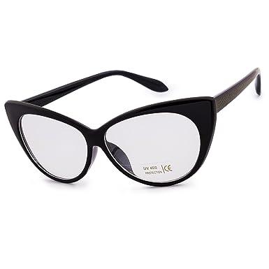 Femme Lunettes Yeux de Chat Lentille Claire Lunettes Lens Style Mode Femmes MFAZ Morefaz Ltd (Black) DiWYv
