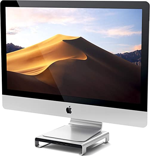 Satechi Type-C Aluminum Monitor Stand Hub with Built-in USB-C Data, USB 3.0, Micro/SD Card Slots & Audio Jack - Compatible with iMac Pro, 2016/2017 iMac and More (Silver)