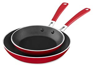 "KitchenAid KC2A08TPER Aluminum Nonstick 8"" & 10"" Skillets Twin Pack - Empire Red, Medium"