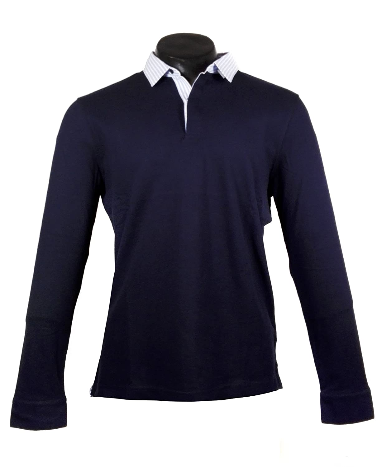 f6592d1e MASSIMO DUTTI Men Polo Shirt with Striped Shirt Collar Detail 0765/263 -  Blue - XXL: Amazon.co.uk: Clothing