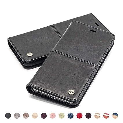 Qiotti Hülle Kompatibel Mit Iphone 8 Iphone 7 Ledertasche Aus Hochwertigem Leder Rfid Nfc Schutz Mit Kartenfach Standfunktion In Schwarz