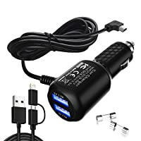 Car Charger for Garmin Nuvi,Garmin car Charger,Garmin nuvi car Charger,Garmin GPS Charger Cable,Mini USB Power Cord Cable Dual Port USB Vehicle Power Charging Cable Cord for Garmin Nuvi C255 Dashcam
