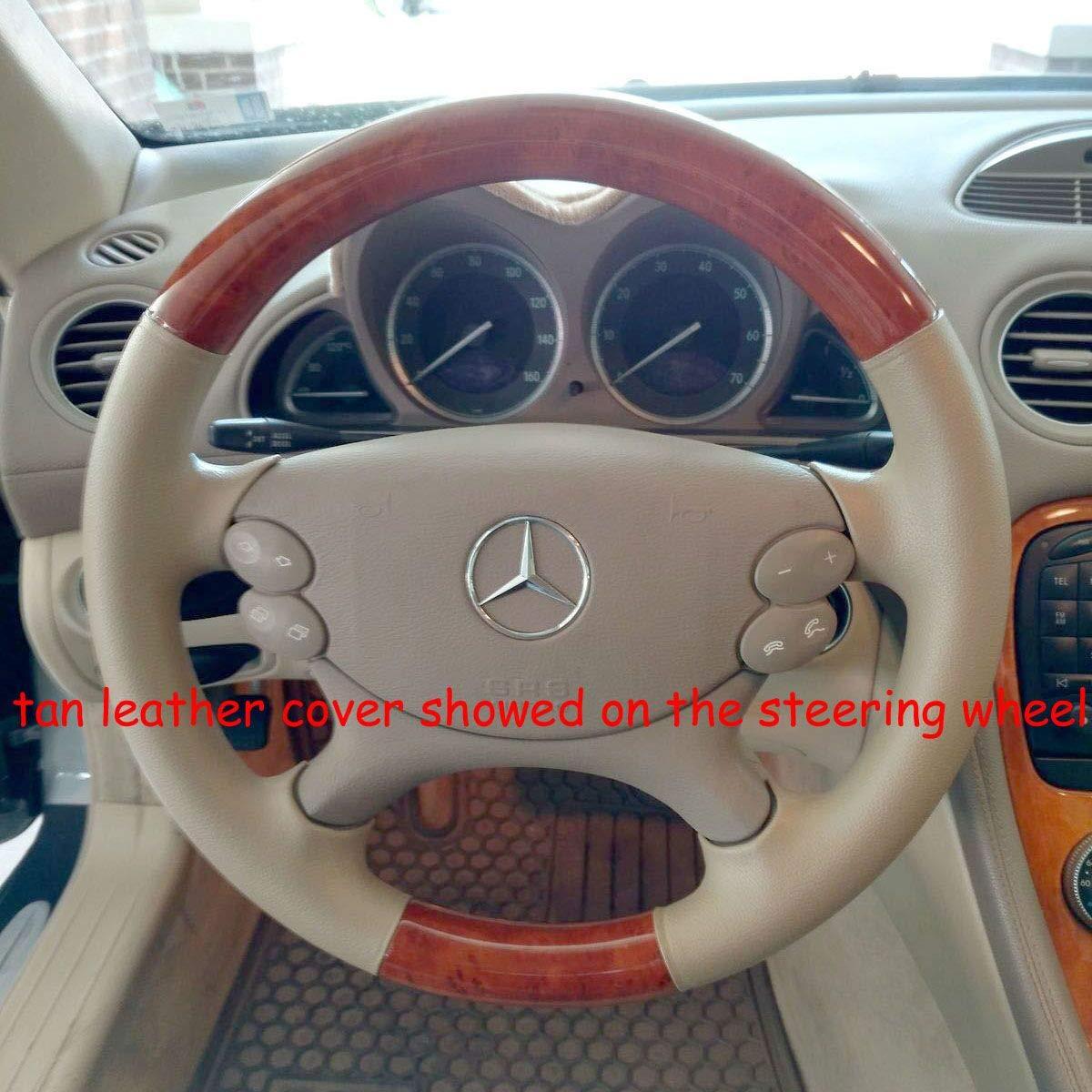 Leather Wood Steering Wheel Cover Mercedes 03-09 W209 A209 CLK R230 SL W219 CLS