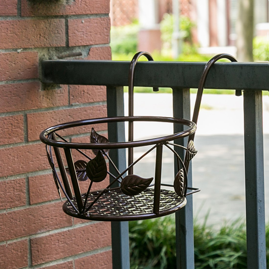 Tosnail 3 Pack Iron Art Hanging Baskets Flower Pot Holder - Great Patio Balcony Porch Fence - Brown by Tosnail (Image #4)