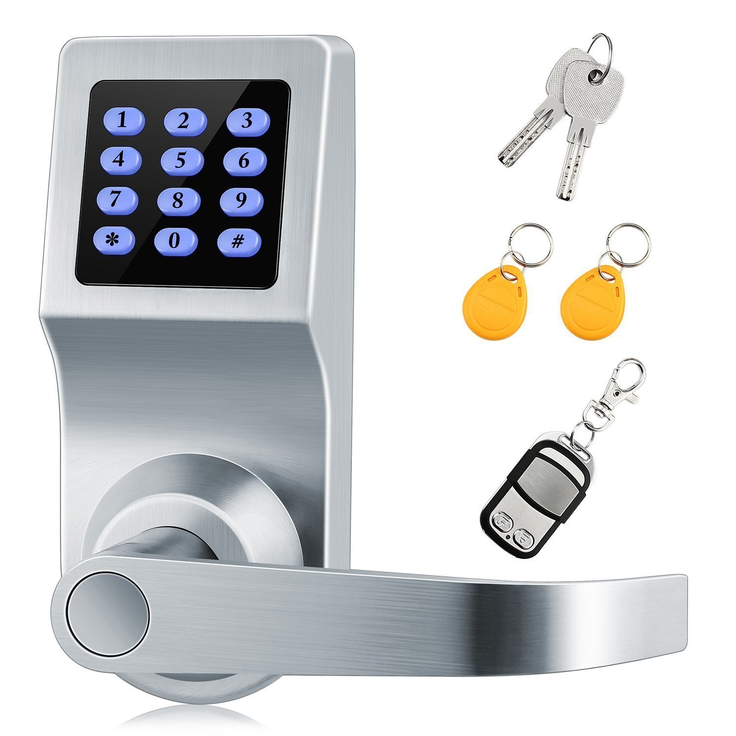 Digital Lock,XINDA Lock with Remote control,Password,Card and Metal key.Door Control Keypads with Adjustable hand,Perfect for Office & Home(Silvery)