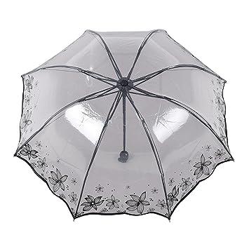 LGZOOT Creativo Señora Romántico Paraguas Plegable Paraguas Transparente Viajes Paraguas,Blackflower