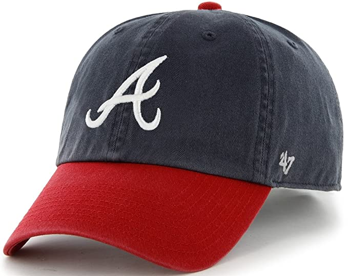 2aadcc24aee Amazon.com   47 Brand Atlanta Braves Navy Blue-Red Cleanup ...