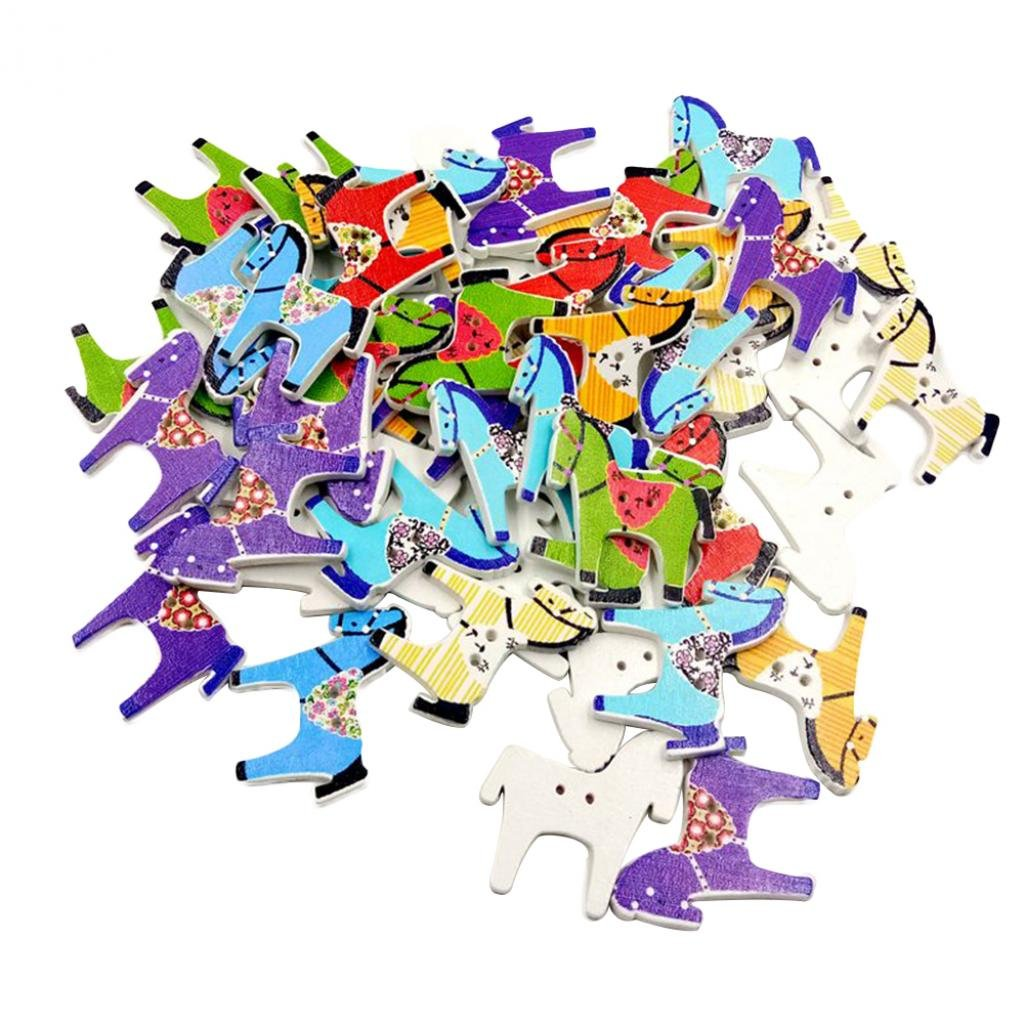 Livecity 50Pcs Cute Horse Wooden Buttons DIY Sewing Scrapbooking Hand Craft Accessory Random Color