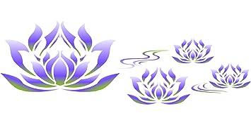 Lotus flower border stencil 34 x 115cm reusable stylized lotus flower border stencil 34 x 115cm reusable stylized egyptian lotus flower ancient mightylinksfo