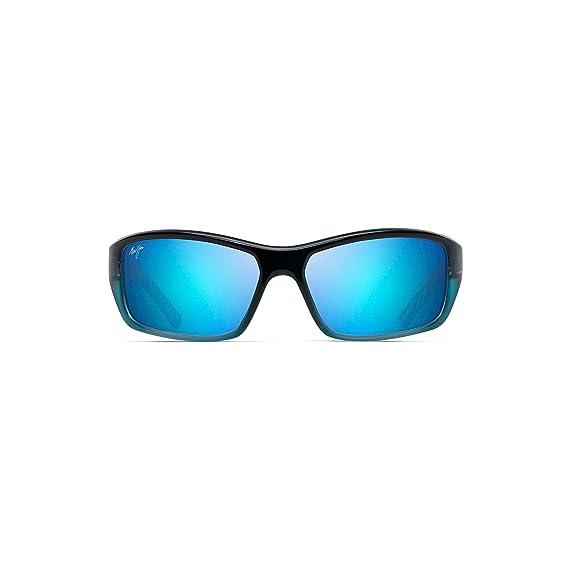 83fa42eedaa Amazon.com: Maui Jim Barrier Reef B792-06C | Polarized Blue with Turquoise  Wrap Frame Sunglasses, Hawaii Lenses, with with Patented PolarizedPlus2  Lens ...