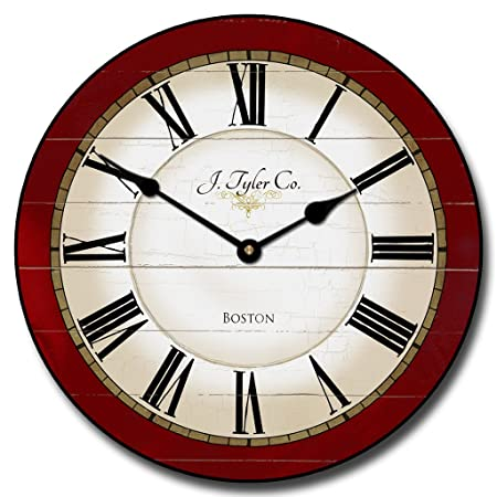 Carolina Red Wall Clock, Available in 8 sizes, Most Sizes Ship 2-3 days, Whisper Quiet.