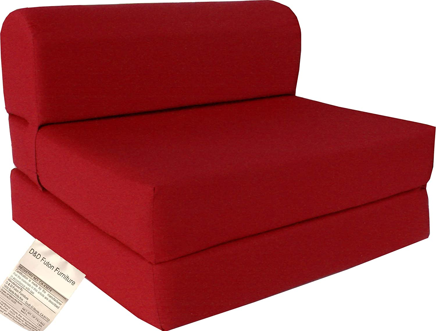 D D Futon Furniture Red Sleeper Chair Folding Foam Bed Sized 6 X 32 X 70, Studio Guest Foldable Chair Beds, Foam Sofa, Couch, High Density Foam 1.8 Pounds.