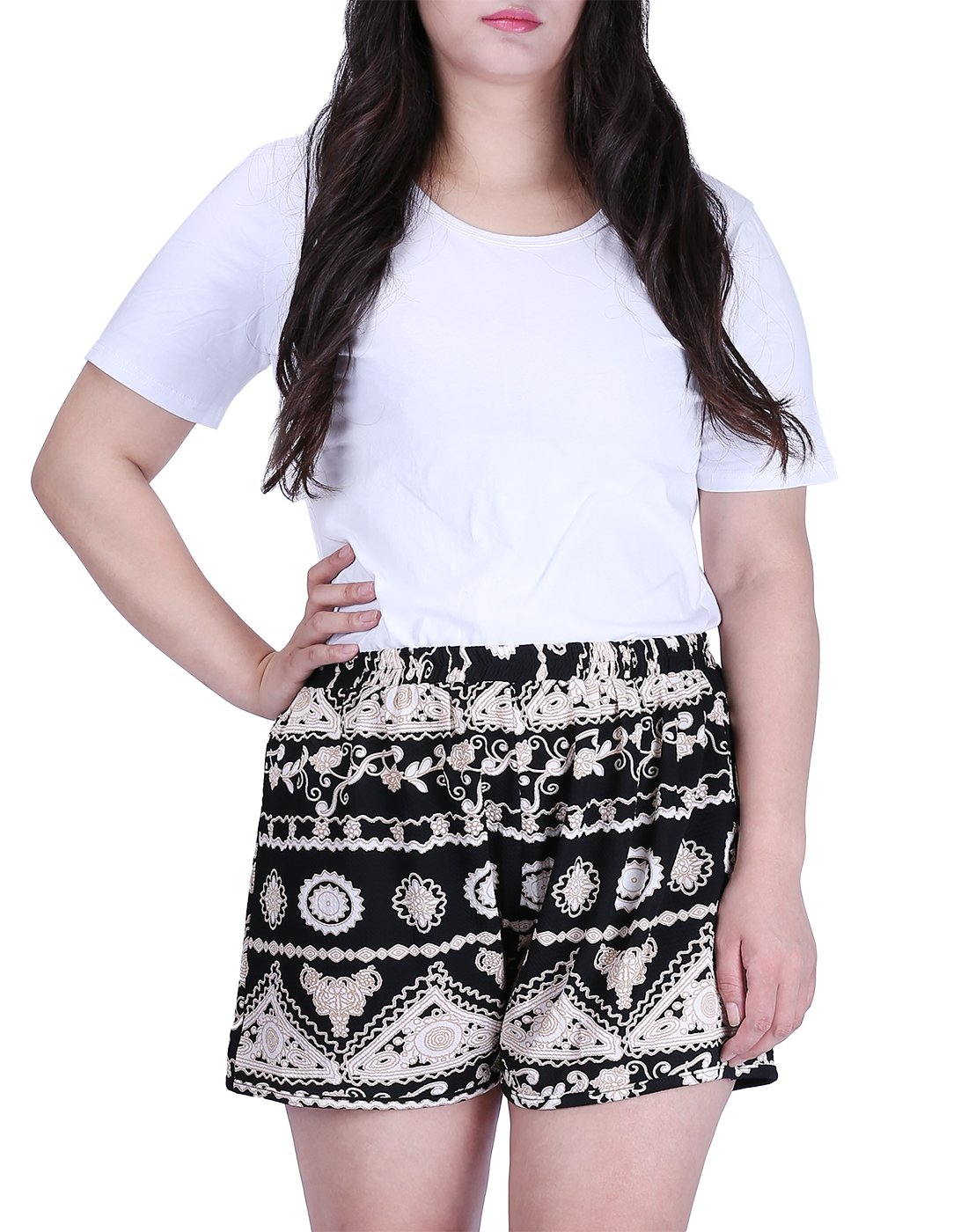 HDE Womens Plus Size Shorts Patterned Casual Pull On Elastic Waist Dress Shorts (Black and White Tribal, 2X)