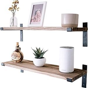 "Premium Home 24"" Wall Mounted Shelves, Wooden Wall Shelf,Long Floating Shelves for Bedroom, Kitchen Shelves,Wall Shelving for Office,Trophy Display,Bookshelves,bar shelfs,Garage,Living Room"