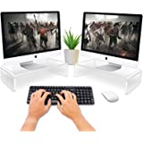 CGBE Dual Monitor Stand Riser, Acrylic Computer Stand for Home Office Desktop, Clear Monitor Riser and Laptop Stand for Desk