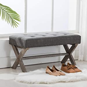 PU Leather Upholstered Entryway Bench, 36 inch Bedroom Bench Seat with X-Shaped Wood Legs for Living Room, Foyer or Hallway by Chairus - Gray