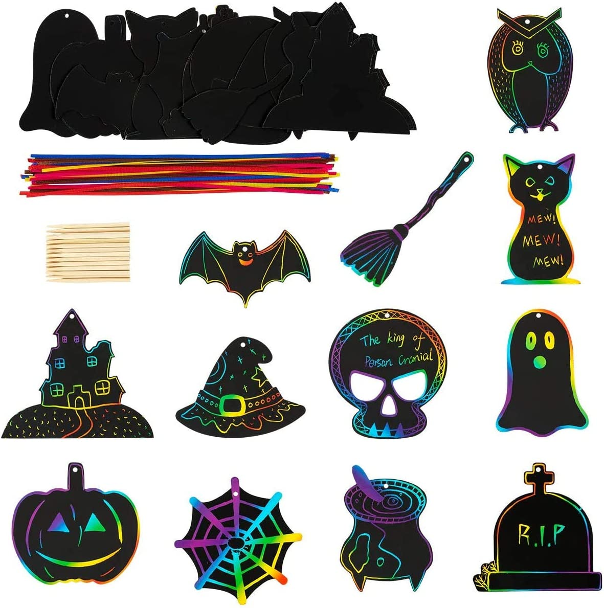 Rainbow Scratch Art Paper Card Pumpkin Bat Castle Hats Craft Kit with 24pcs Wooden Styluses and 48pcs Ribbons for Birthday Halloween Party Supplies unknow 48 Pieces Halloween Theme Scratch Paper