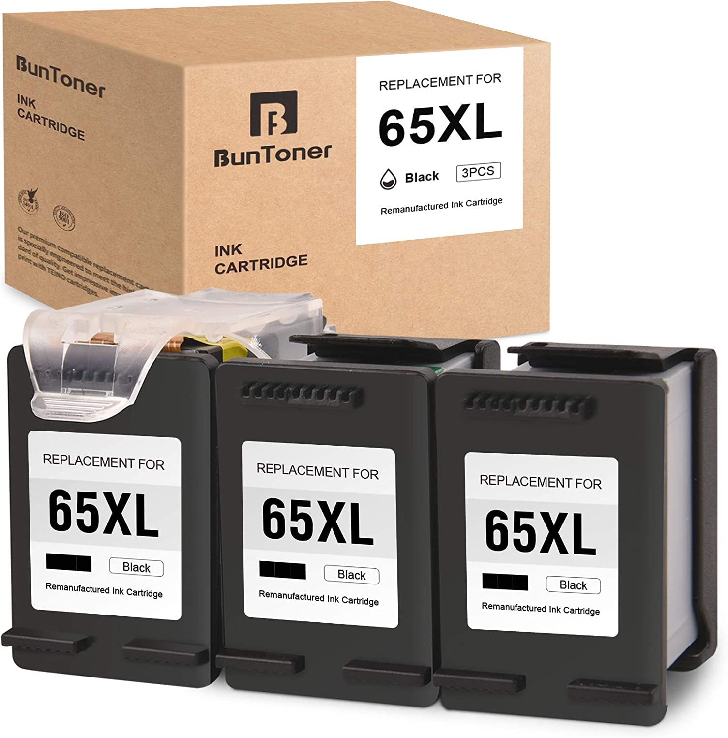BUNTONER Remanufactured Ink Cartridges Replacement for HP 65 65XL use with HP Envy 5055 5052 5010 5030 DeskJet 3752 2622 3755 2652 2655 3720 2630 (3 Black Cartridges, 1 Print Head)