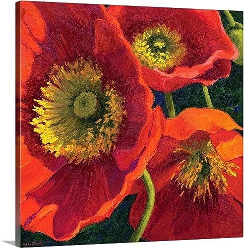 Red Poppy Trio II Canvas Wall Art Print