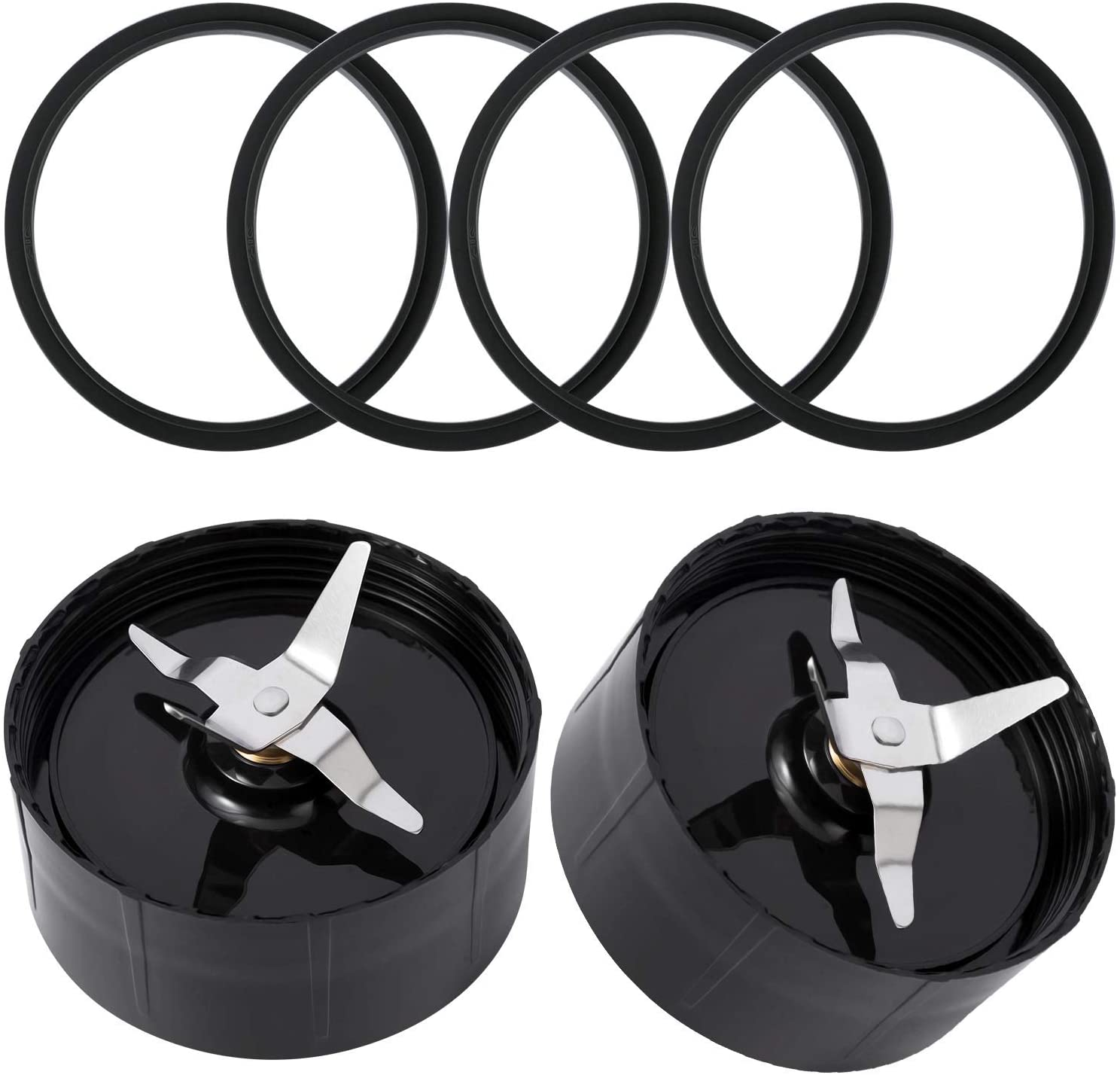 2 Cross Blades with 2 Rubber Gaskets QT Replacement Parts Compatible with 250w Magic Bullet Blender, Juicer and Mixer(Model MB1001)
