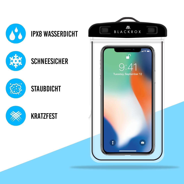 Handyschutz Wasserfeste Handytasche Cover Beutel Beachbag Tasche Handy H/ülle Waterproof Case iPhone X//XS 8 7 6s Samsung S10 S9 S8 S7 BLACKROX wasserdichte Handyh/ülle Schwarz