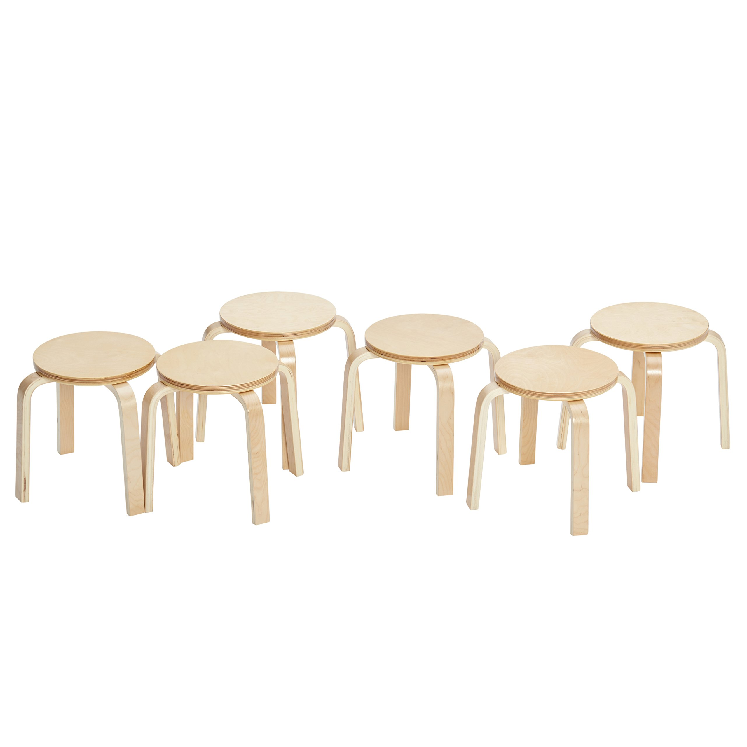 ECR4Kids Bentwood Stacking Stools for Kids, 12'' H, Natural (6-Piece Set)