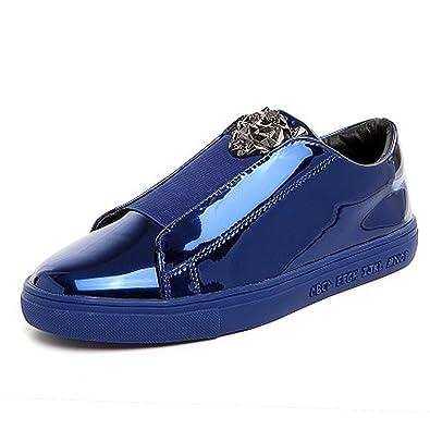 Men's Flat Glossy Sequin Slip On Loafer Shoes (7.5 US Blue)