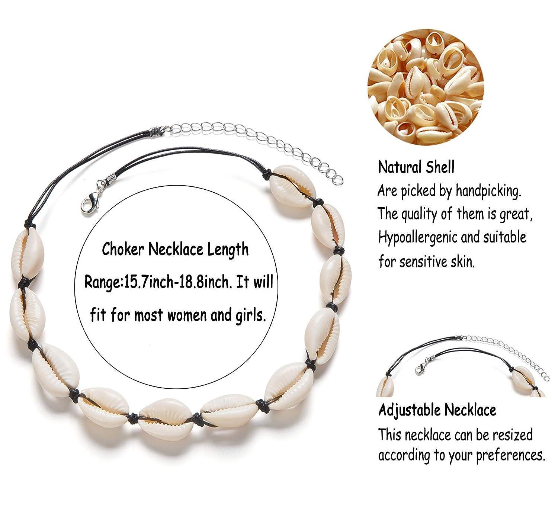 Fesciory Puka Shell Choker Necklace for Women Summer Natural Cowrie Adjustable Necklace Bracelet Set Handmade Boho Hawaiian Beach Seashell Jewelry for Girls