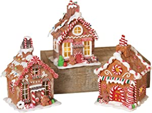 Gerson 7 Inches High Lighted Battery Operated Clay Dough Christmas Gingerbread Houses, 3 Assorted