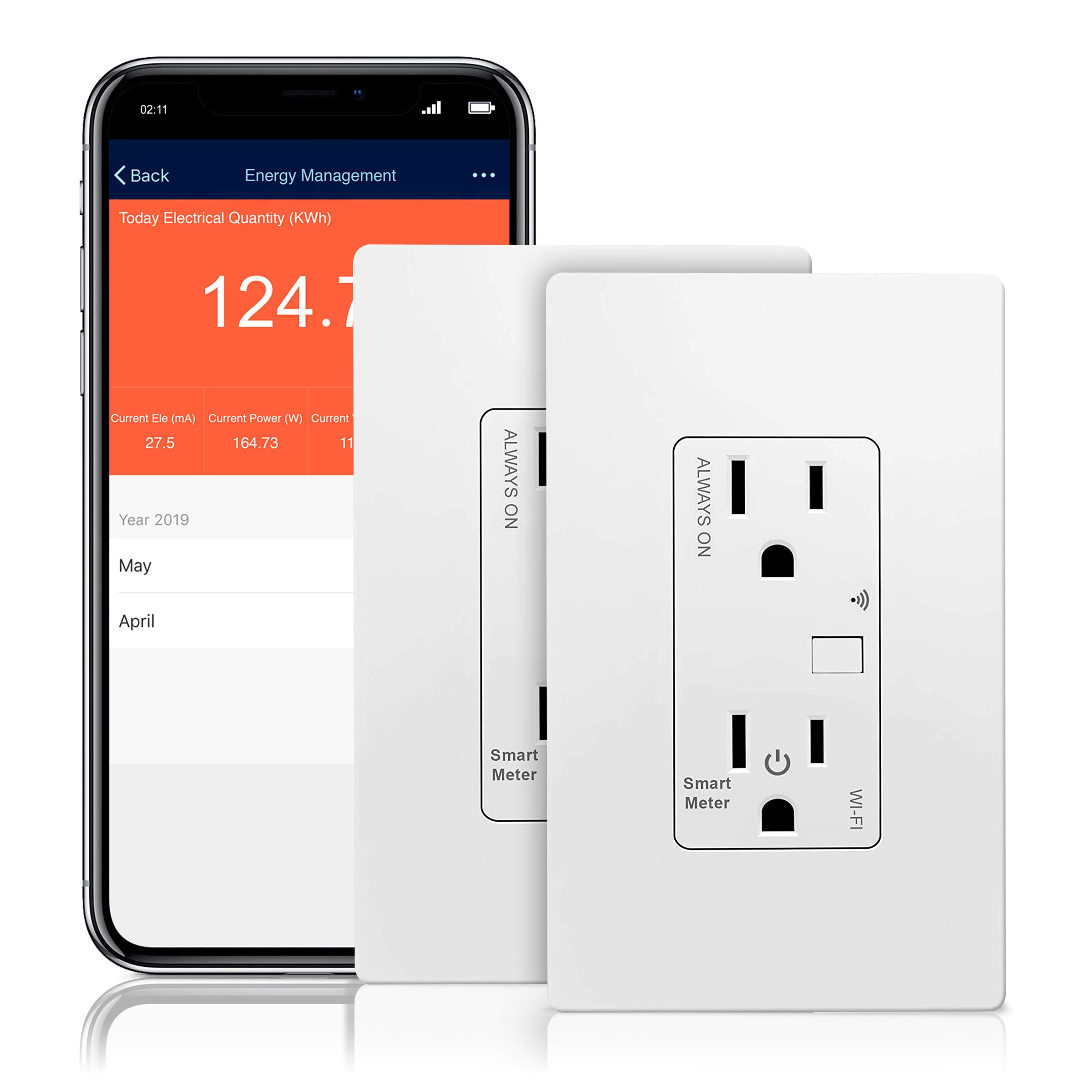 TOPGREENER Smart Wi-Fi Outlet with Energy Monitoring, Tamper-Resistant, Control Lighting and Appliances from Anywhere, in-Wall, No Hub Required, Works w/Amazon Alexa and Google Assistant, 2 Pack