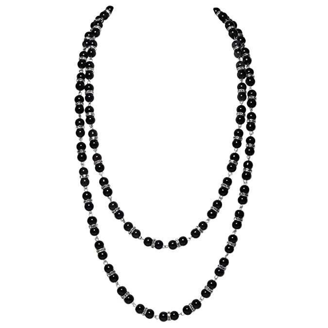 "BABEYOND 1920s Imitation Pearls Necklace with Crystal Gatsby Long Knot Pearl Necklace 55"" 20s Pearls 1920s Flapper Accessories (Black)"