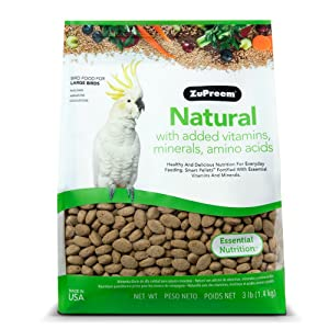 ZuPreem Natural Large Bird Food, 3-Pound – Most affordable pellet food for Amazon parrot