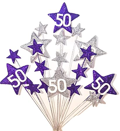 Amazon STAR AGE 50TH BIRTHDAY CAKE TOPPER DECORATION IN PURPLE AND SILVER Kitchen Dining