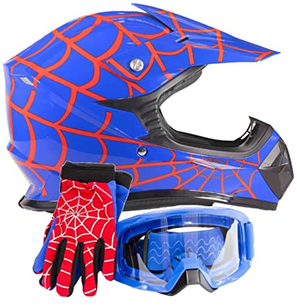 Youth Kids Offroad Gear Combo Helmet Gloves Goggles DOT Motocross ATV Dirt Bike Motorcycle Blue Spiderman