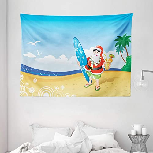 Ambesonne Christmas Tapestry, Santa Claus on The Beach with Surfboard Summer Party Celebration Tropical Art, Wide Wall Hanging for Bedroom Living Room Dorm, 80 X 60 , Yellow Blue
