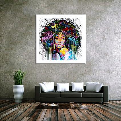 Dolland Unframed African American Wall Art For Livingroom Wall Decor,  Original Designed Canvas Painting Art