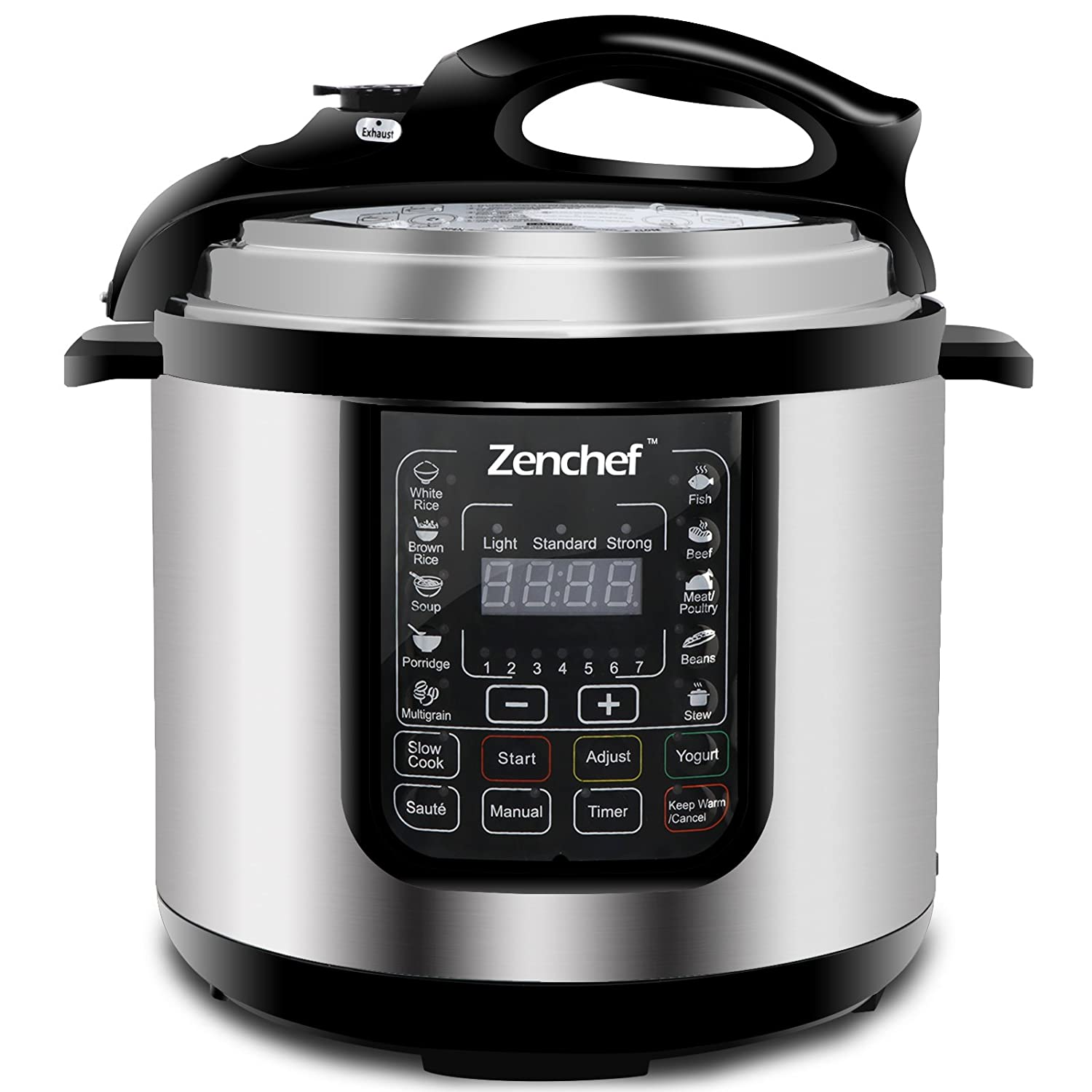 Zenchef 14-in-1 NEWEST 6Qt Multifunctional Stainless Steel Electric Pressure Cooker 1000W w/LED Display Screen, Slow Cooker, Rice Cooker, Sauté, Steamer, Yogurt Maker & Food Warmer