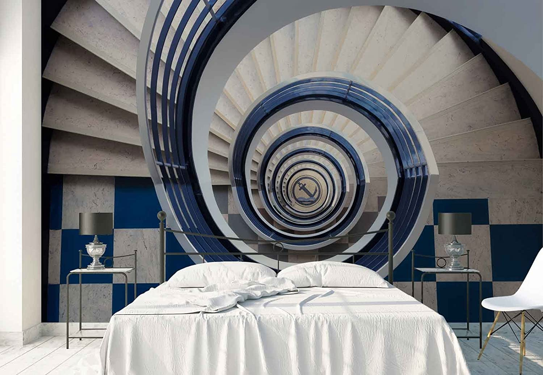 Papel Tapiz Fotomural - Escalera De Caracol Ancla Fondo Azulejos - Tema Arquitectura - L - 254cm x 184cm (an. x alto) - 2 Tiras - impreso en papel 130g/m2 EasyInstall -