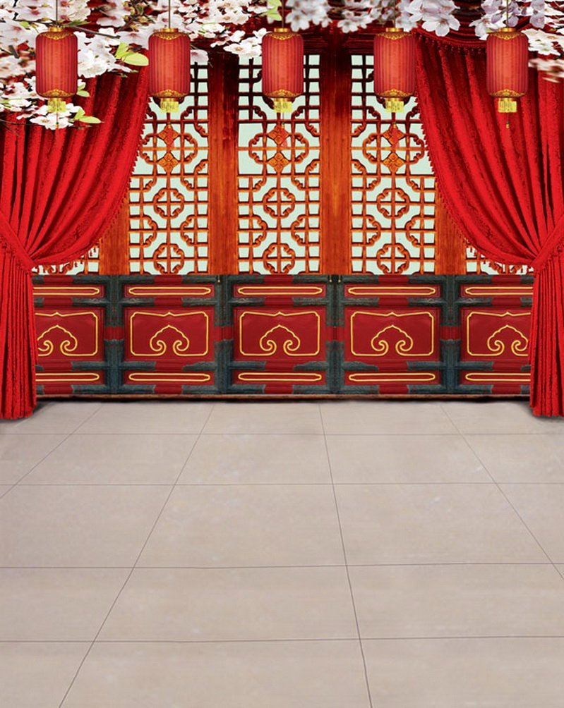 Chinese Traditionalドアレッドランタン写真Backdrops写真小道具Studio背景5 x 7ft   B01G3UKCB2