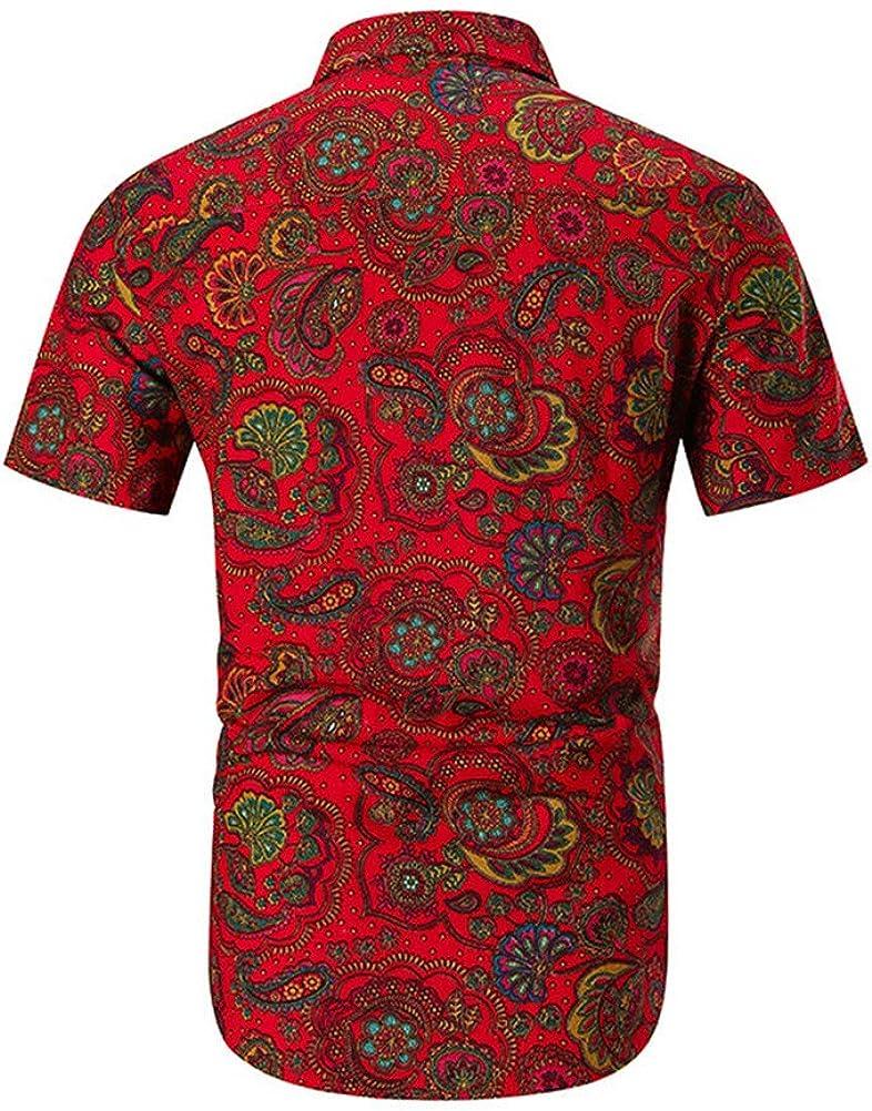 SUNMAIO Shirt Personality Printed Short-Sleeved Shirt Shorts Comfortable Men