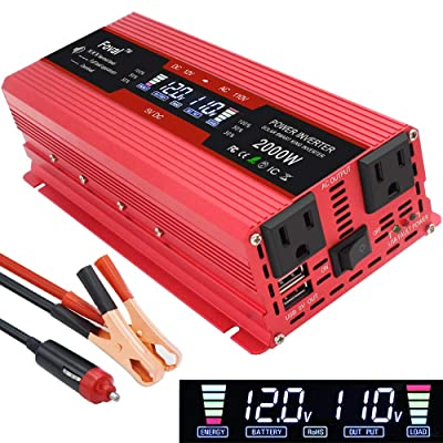 Yinleader Car Power Inverter 1000W/2000W(Peak) DC 12V to 110V AC Converter with Intelligent LCD Display Dual AC Outlets Dual USB Charger for RV Caravan Truck Laptop(Red): Car Electronics